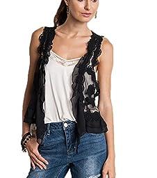 Umgee Women\'s Boho Style Lace Ruffle Crop Vest (M/L, Black)