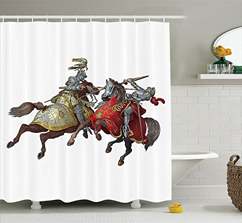 [Medieval Decor Shower Curtain Set Middle Age Fighters Knights with Ancient Costume Renaissance Period Illustration Artwork Bathroom Accessories] (Vintage Pin Up Girl Costume Ideas)