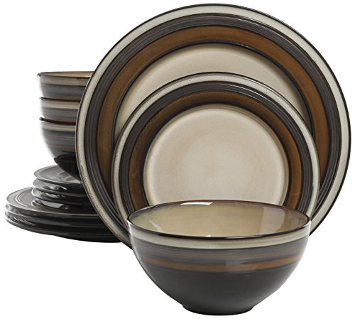 Gibson Elite Everston 12 Piece Dinnerware Set, Brown and Cream, Reactive Glaze - Stoneware 12
