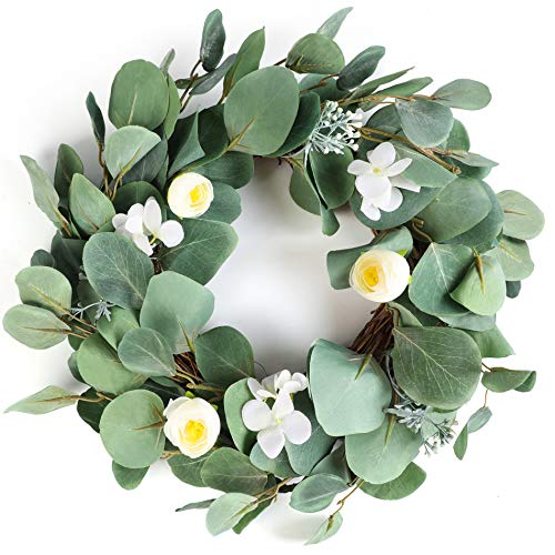Welcome To Our Halloween Party (LASPERAL Eucalyptus Wreath Flower Wreath for Front Door Fall Wreath Home Décor for Window Wall Party Wedding Valentines Day Hanging)