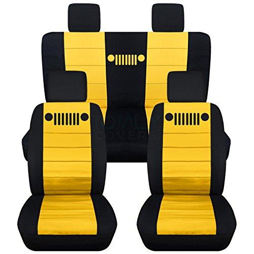 Rear Solid Full Door - Totally Covers Fits 2007-2010 Jeep Wrangler JK Seat Covers: Black & Yellow - Full Set: Front & Rear (23 Colors) 2008 2009 2-Door/4-Door Complete Back Solid/Split Bench