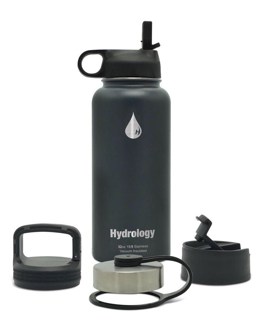 Hydrology with 4 LIDS Double Wall Vacuum Insulated Stainless Steel Water Bottle Flask - Keeps Cold and HOT (Steel Grey, 32 oz)