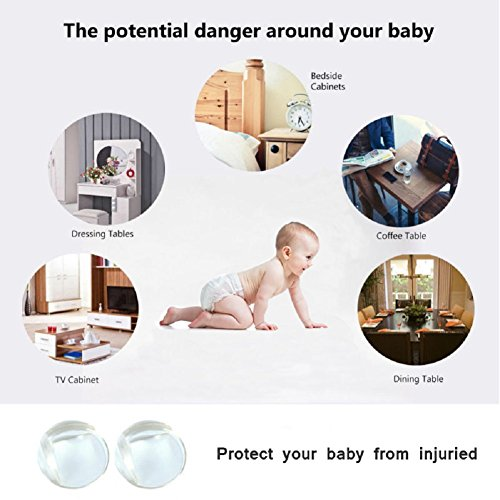Corner Guards Baby Safety Proofing Child Proof Edge Cushion Clear Corner Protectors for Furniture Tables & Sharp Corners 20 Pack (Transparent) by BOBKY (Image #2)
