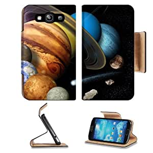 Astronomy Solar System Laid Out Including Milky Way Samsung Galaxy S3 I9300 Flip Cover Case with Card Holder Customized Made to Order Support Ready Premium Deluxe Pu Leather 5 inch (132mm) x 2 11/16 inch (68mm) x 9/16 inch (14mm) MSD S III S 3 Professiona