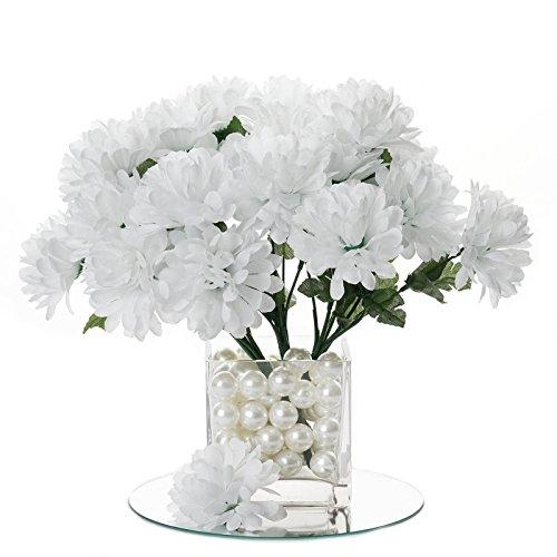 BalsaCircle 84 White Silk Chrysanthemums - 12 Bushes - Artificial Flowers Wedding Party Centerpieces Arrangements Bouquets -