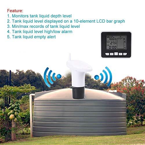 Ultrasonic Level Monitor,Acogedor Wireless Liquid Level Sensor,Tank Liquid Depth Level Meter Sensor with Temperature Display