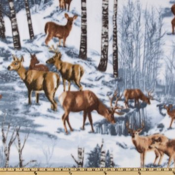 1 Yard - Snowy Deer Scenic Cotton Fabric (Great for Quilting, Sewing, Craft Projects, Quilts, Throw Pillows & More) 1 Yard X 44