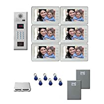 Video Entry Intercom System Six 7 inch color monitor door panel kit