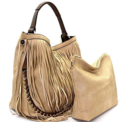 w Handbag Double Bag Crossbody inner Hobo Fringe Strap Taupe Republic wqPx1FqX