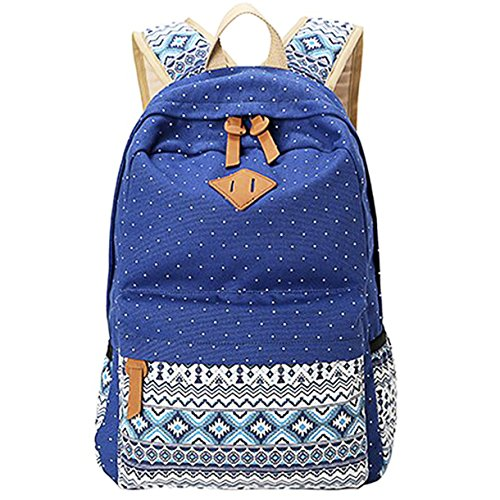 Minch Cute Backpack Polka Dot Casual Style Lightweight Canvas 14