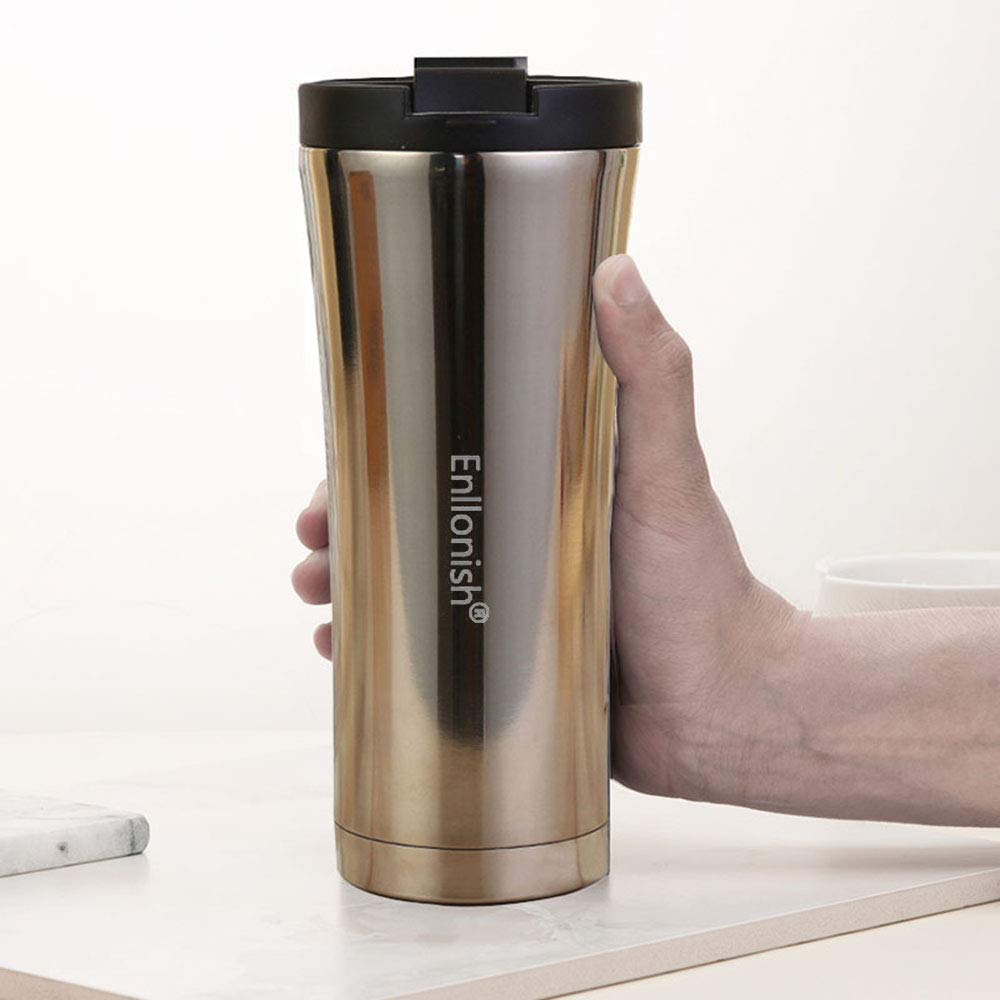 Premium Quality Stainless Steel Mug 500 ML B-Black Enllonish Vacuum Insulated Travel Mugs Reusable and Leak-Proof Coffee Tea Flask Double Walled Vacuum Flask Thermo