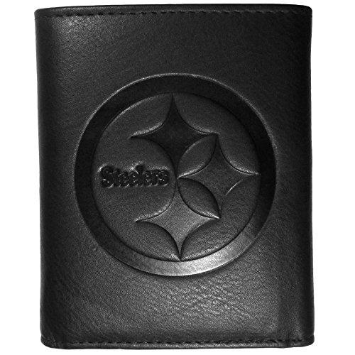 Siskiyou NFL Pittsburgh Steelers Embossed Black Tri-fold Leather Wallet