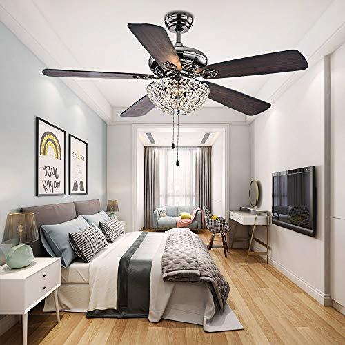 Tropicalfan 52 inch Crystal Ceiling Fan With Light and Remot,Metal Polished