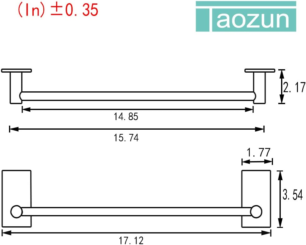 Taozun Self Adhesive 16-Inch Bathroom Towel Bar Brushed SUS 304 Stainless Steel Bath Wall Shelf Rack Hanging Towel Stick On Sticky Hanger Contemporary Style: Home & Kitchen