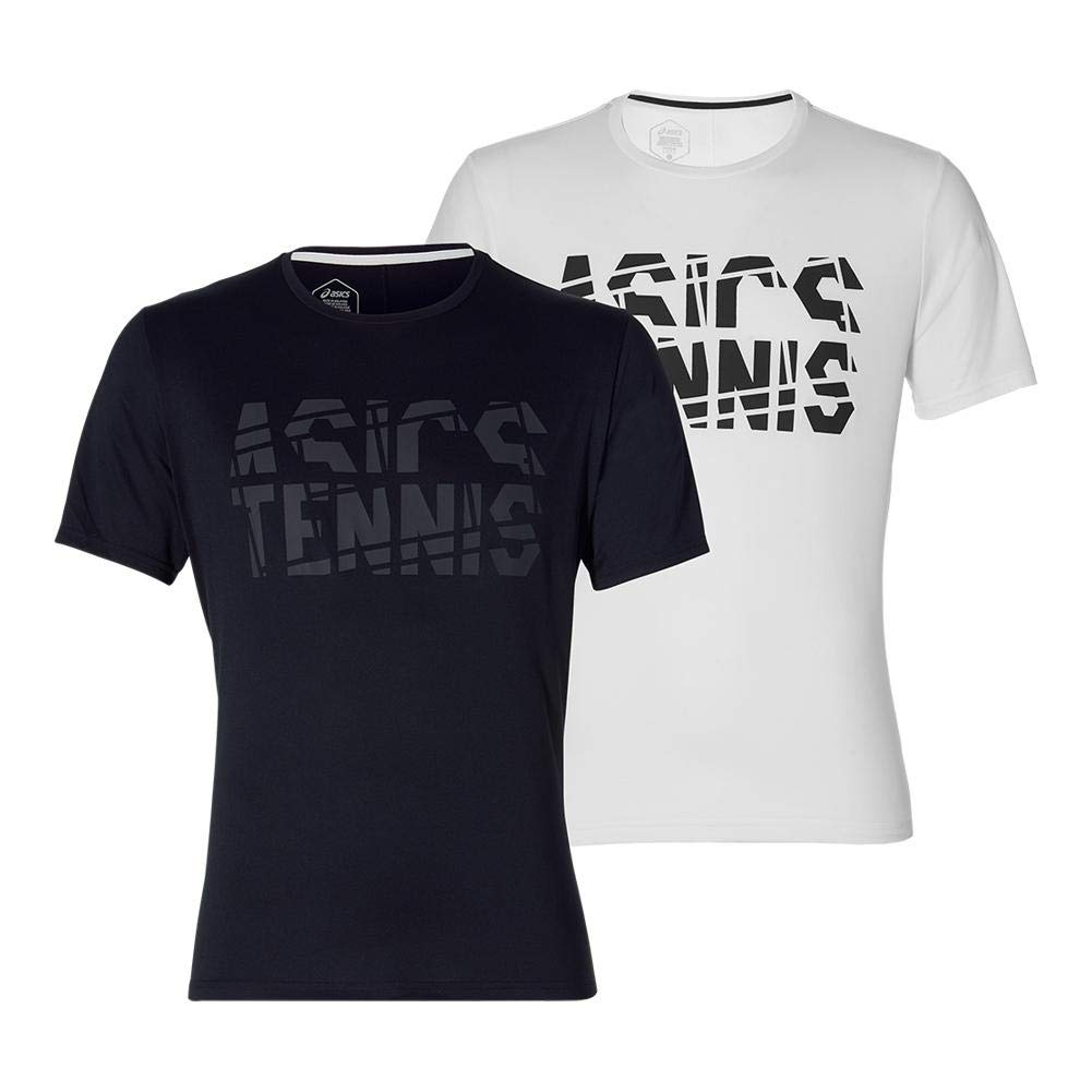ASICS-Men`s Practice Short Sleeve Tennis Top-(191497685211)