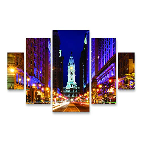 Trademark Fine Art City Hall Philadelphia by Philippe Hugonnard, Five Panel Set, Multi-Color