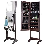 Nicetree Jewelry Cabinet with Full-Length Mirror, Standing Lockable Jewelry Armoire Organizer, 3 Angel Adjustable, Brown