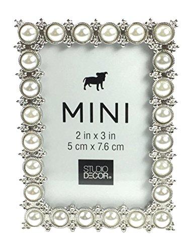 - Studio Decor Silver Tone Imitation Pearl Metal Mini Picture Frame, 2 X 3