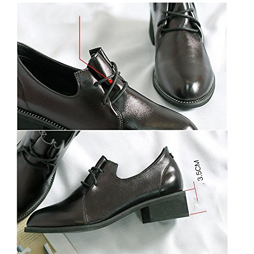Occasionnels Légères Career Heel Planches De 5cm Office Eu38 Flat Casual cn38 Soles Black taille Dress Pu Femmes Fufu uk5 5 amp; 3 SYIqvI