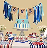 1st birthday decorations,Baby Boys first Birthday Banner,Burlap Highchair Banner for 1st birthday boy decorations