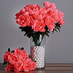BalsaCircle 40 Silk Peony Flowers - 4 Bushes - Artificial Flowers Wedding Party Centerpieces Arrangements Bouquets Decorations Supplies 39