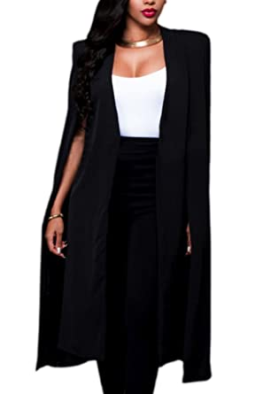 429f5c4a93e Zamtapary Women Trench Open Front Solid Longline Plus Size Cape Jacket Suit  Blazer  Amazon.co.uk  Clothing