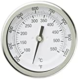 """PIC Gauge B3B6-TT 3"""" Dial Size, 200/1000°F and 93/538°C, 6'' Stem Length, Back Angle Connection, Stainless Steel Case, 316 Stainless Steel Stem Bimetal Thermometer"""