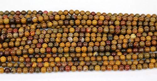 GemAbyss Beads Gemstone 1 Strands Natural Yellow Petrified Wood Jasper Round Loose Small Beads 3mm 15 Inch Long 03560 -