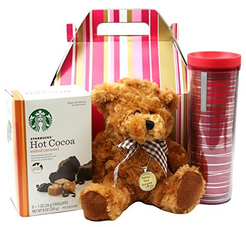 College Student Gifts Starbucks Travel Mug Salted Caramel Cocoa Teddy Bear Inspiration Charm