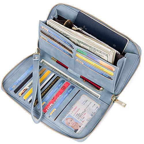 Geldbörse Damen Leder Gross Frauen Clutch Portemonnaie Groß Geldbeutel Lang Portmonee mit 15 Kartenfächer (55-Vintage Two Tone Blue)