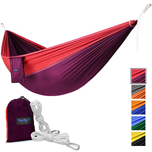 Yes4All Single Lightweight Camping Hammock with Carry Bag – Nylon Parachute Hammock / Lightweight Portable Hammock for Camping, Hiking - Hammock Small