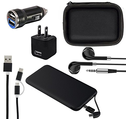 Mobile Phone Accessories 6 in 1 Travel Kit, Gift Set, Pouch Bag Case, Power Bank 5000mAh, Wall Charger, Dual Port Fast Car Charger, Headphones, Data Charging Cable Android Micro USB & iPhone iPad iPod (Kit Phone Charger)