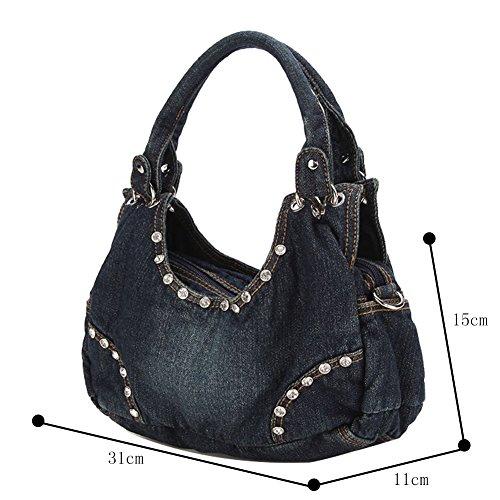 Bag Tote 2Archer Small Casual Blue Genda Denim Handbag Hobo Satchel Dark Shoulder Women A1vx6Hqw
