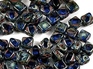 24pcs Silky Cut Beads–Impresión Checa Perlas con dos Diagonal agujeros, Ciffre cuadrado 6x 6mm, Sapphire Travertine Dark