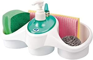 Calaberno Tidy Soap Dispenser and Storage Box Bathroom and Kitchen Liquid Detergent and Soap Container Sponge Cloth and Ring Holder BPA Free Durable Material Easy to Use for Your Home