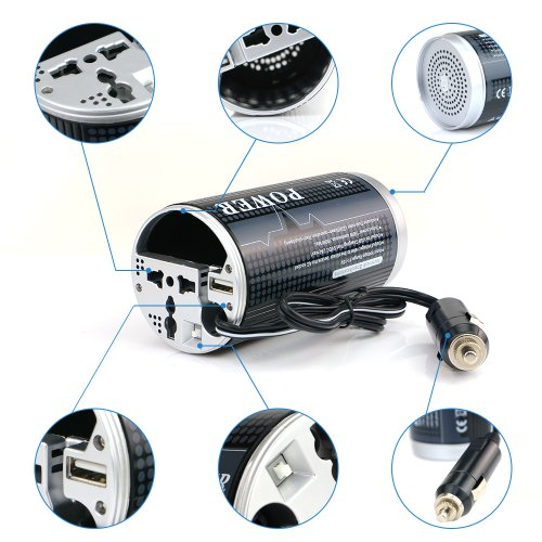BESTEK 150W Inversor De Coche 12V AC A 230V DC Con Puerto USB 5V Y ...