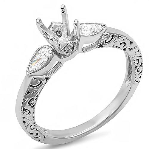 0.33 Carat (ctw) 14K White Gold Round & Pear Diamond Ladies Bridal Ring Engagement 1/3 CT (No Center (Round Diamond Pear Semi Mount)