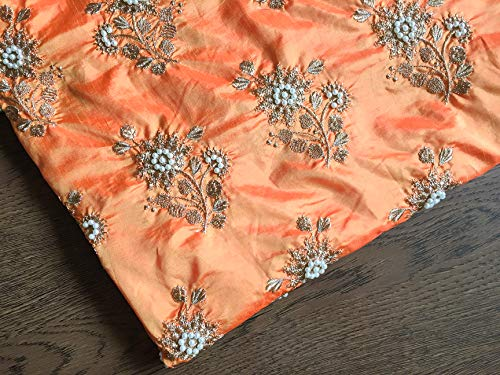 Embroidered Fabric by The Yard Faux Silk for Saree Blouse1 Yard by Craftbot
