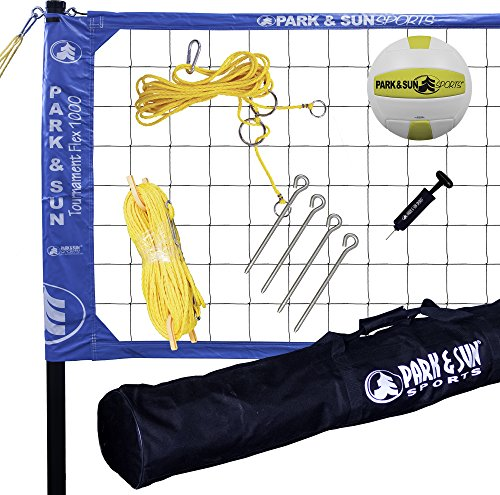 Park & Sun Sports Tournament Flex 1000: Portable Outdoor Volleyball Net System, Blue