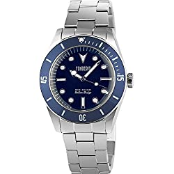 Men's Italian Designed Novecento by Fonderia Blue Dial with Blue Bezel Stainless Steel Quartz Watch P-7A002UBB