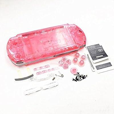 Carcasa completa para Sony PSP 3000 3001 3002 3003 3004, con tornillos y botones rosa y transparente