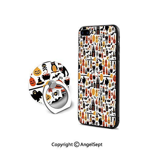 Protective Case for iPhone 8/iPhone 7 with Ring Holder Kickstand,Halloween Icons Collection Candies Owls Castless October 31 Theme Decorative,Retail Packaging,Orange Yellow -
