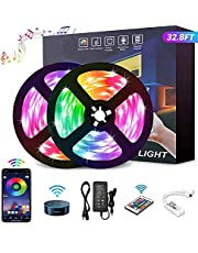 YOMYM LED Strip, LED Lights with Kit, Light strip controlled by smart phone, wireless, WiFi 5050, Works with Android and iOS System, Alexa, Google Assistant, 32.8ft/ (2x5M) 10M (24 keys)