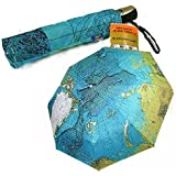 世界地図の柄 きれいな ブルーの ワンタッチ 折りたたみ傘 晴雨兼用