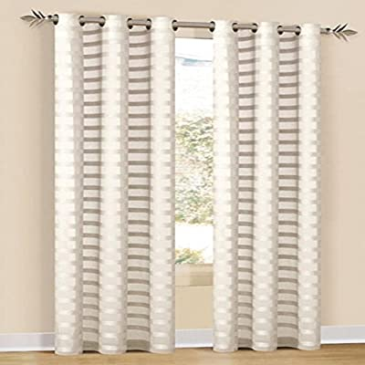 Duck River Textiles - Capri Faux Line Striped Grommet Top Window Curtains For Living Room & Bedroom - Assorted Colors - Single Panel - (52 X 84 Inch - Ivory) - Window curtain panel -  Measures: 52-inch Wide by 84-inch Long Long lasting. Energy efficient. Thermal insulated. Noise reducing & Privacy protecting Various pattern colors available for accurate purchase, please click color button to see detailed reference - living-room-soft-furnishings, living-room, draperies-curtains-shades - 51ZeOZ1dm%2BL. SS400  -