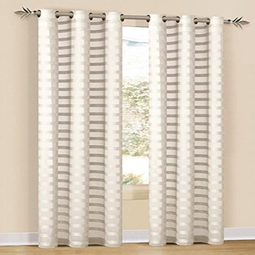 Duck River Textiles - Capri Faux Line Striped Grommet Top Window Curtains For Living Room & Bedroom - Assorted Colors - Single Panel - (52 X 84 Inch - Ivory)