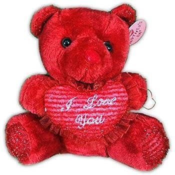 Amazon 10 inch plush white teddy bear i love you toys games 10 inch plush red teddy bear i love you altavistaventures Choice Image