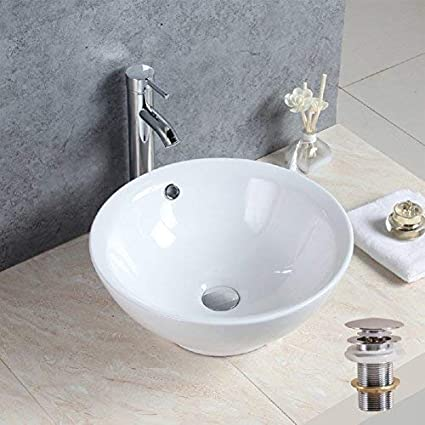 Basong Above Counter Bathroom Round Porcelain Ceramic Vessel Vanity Sink Art Basin White 17x17x6 7 In With Pop Up Drain