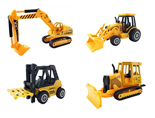 Set of 4 Construction Vehicles Diecast Metal Toy Playset [5 Inch] - Forklift, Bulldozer, Excavator, Tractor (Toy Tractor Diecast)