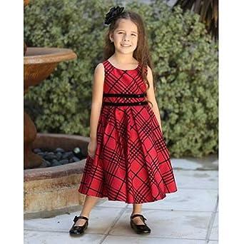 Amazon.com: Angels Garment Red Black Plaid Christmas Dress Little ...